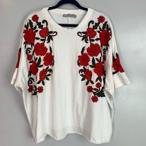 ASOS short sleeve floral embroidered top
